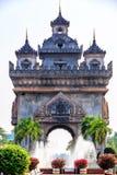 Patuxay或Patuxai是在万象的中心,胜利胜利门或者门,万象的一座战争纪念碑 免版税图库摄影