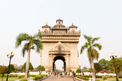 Patuxay, the historic gate of Laos. The triumphal arch, landmark of Laos Stock Images