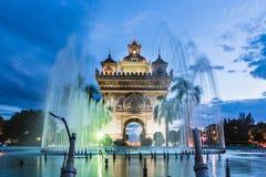 Patuxay monument i Vientiane i Laos Royaltyfria Foton