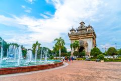 Patuxay Monument in Vientiane, Laos. Beautiful architecture at Patuxay Monument in Vientiane, Laos Royalty Free Stock Images