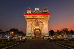 Patuxay monument in Vientiane, Laos. Patuxay monument in Vientiane at twilight, Laos Royalty Free Stock Photography