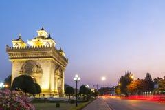 Patuxay o Patuxai Victory Monument, punto di riferimento architettonico di Vientiane, capitale del Laos Fotografie Stock Libere da Diritti