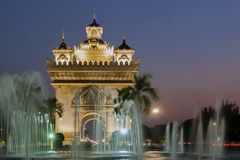 Patuxay or Patuxai Victory Monument, architectural landmark of Vientiane, capital city of Laos Stock Photography