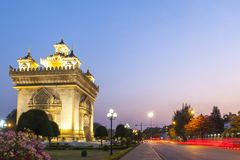 Patuxay or Patuxai Victory Monument, architectural landmark of Vientiane, capital city of Laos Royalty Free Stock Photos