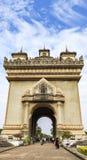 Patuxay que significa literalmente a porta da vitória em vientiane, Laos imagens de stock royalty free