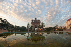 Patuxay at sun-up in Vientiane , Loas . Stock Photography