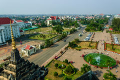 Patuxay Victory Gate park, Vientiane, Laos. View of Patuxay park & Vientiane from top of Patuxay Victory Gate a war monument set in a public park in capital of Stock Photos