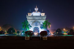 Patuxay, the victory gate of Vientiane, Laos Royalty Free Stock Photos