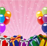 Paty frame. Decoration for birthday and party with balloons and gifts Royalty Free Stock Photo
