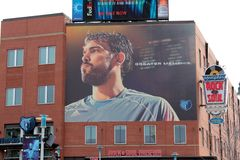 Marc Gasol of the NBA Memphis Grizzlies. Larger than life portrait of Pau Gasol of the National Basketball Associations Memphis Grizzlies Royalty Free Stock Photos