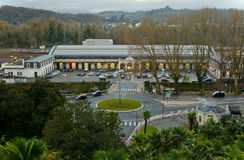 Pau railway station in evening lights seen from the Boulevard de. The gare de Pau is a railway station in Pau, Aquitaine, France, situated in the valley of the Royalty Free Stock Photo