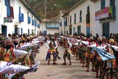 Typical dance of Paucartambo's religious festival of Virgen del Carmen called 'Capac Qolla'. royalty free stock image
