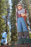 Paul Bunyan and Babe. Statues of Paul Bunyan and Babe the blue ox in Westwood, Northern California royalty free stock images