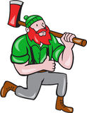 Paul Bunyan LumberJack Axe Kneeling Cartoon Stock Photos