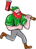 Paul Bunyan Lumberjack Axe Running Cartoon Royalty Free Stock Photography
