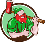 Paul Bunyan Lumberjack Axe Thumbs Up Circle Cartoon Stock Photography