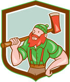 Paul Bunyan LumberJack Shield Cartoon Stock Images