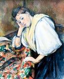 Paul Cézanne, Jonge Italiaanse vrouw bij een Lijst, J Het Centrum van Getty royalty-vrije stock foto