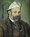 Paul Cezanne Malerei des Selbstporträts stockbilder