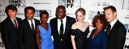 Paul Dano, Chiwetel Ejiofor, Lupita Nyong'o, Steve McQueen, Sarah Paulson, Alfre Woodard, Michael Fassbender. NEW YORK- OCT 8: (l-r) Actors Paul Dano, Chiwetel Stock Photos