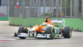 Paul Di Resta som är tävlings- i Singapore F1 2012 Arkivfoto