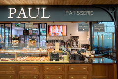 Paul at Dubai International Airport. DUBAI, UAE - CIRCA NOVEMBER, 2016: Paul at Dubai International Airport. Paul is a French chain of bakery/cafe restaurants Royalty Free Stock Images