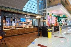 Paul at Dubai International Airport. DUBAI, UAE - CIRCA NOVEMBER, 2016: Paul at Dubai International Airport. Paul is a French chain of bakery/cafe restaurants Royalty Free Stock Photos