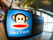 Paul Frank-Kleidung, Zubehör und viele anderen Produkte, das Bild stellt dar, dass Julius der Affe bekannteste Charaktere ist Stockfotografie
