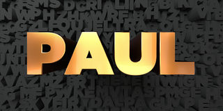 Paul - Gold text on black background - 3D rendered royalty free stock picture Stock Image