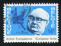 Paul-Henri Spaak und Karte Lizenzfreies Stockfoto