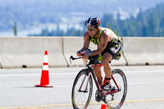 Paul Lee in the Coeur d' Alene Ironman cycling event Stock Images