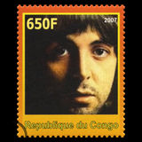 Paul McCartney Beatles Postage Stamp from Congo. REPUBLIQUE DU CONGO - CIRCA 2007: A postage stamp portraying an image of Paul McCartney, one of the Beatles Royalty Free Stock Photography
