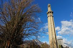 Paul Mistral-Park und Perret-Turm in Grenoble stockbild