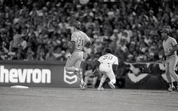 Paul O`Neill, Cincinnati Reds. RF in Game 4 of the 1990 World Series. Image taken from a b&w negative royalty free stock photography