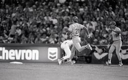 Paul O`Niell, Cincinnati Reds. RF in Game 4 of the 1990 World Series. Image taken from a b&w negative royalty free stock images