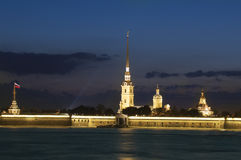 Paul and Peter fortress in Night Stock Photography