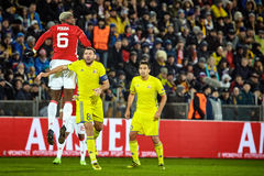 Paul Pogba , Game moments in match 1/8 finals of the Europa League between FC 'Rostov' and 'Manchester United', 09 March 2017 in stock photos