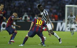 Paul Pogba , Lionel Messi and Dani Alves Juventus v FC Barcelona - UEFA Champions League Final Royalty Free Stock Photography