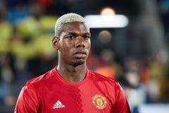 Paul Pogba vor Schlüssen des Matches 1/8 der Europa-Liga Stockfotografie