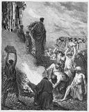 Paul Preaches at Ephesus. Picture from The Holy Scriptures, Old and New Testaments books collection published in 1885, Stuttgart-Germany. Drawings by Gustave stock illustration
