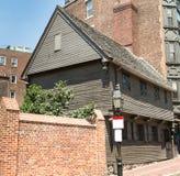 Paul Revere House i Boston på frihetsslinga royaltyfri fotografi