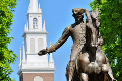 Paul Revere and Old North Church. Paul Revere Statue and Old North Church, in Boston Royalty Free Stock Images