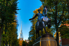 Paul Revere and the Old North Church. Statue of Paul Revere with the Old North Church in the background Stock Image