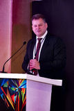 Paul Rowley addressing the guests at the IIJS 2015 Inaugration Royalty Free Stock Images