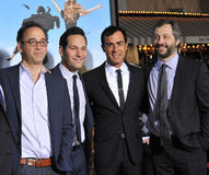 Paul Rudd, Justin Theroux, Judd Apatow, David Wain. Director David Wain (left) with Paul Rudd, Justin Theroux & producer Judd Apatow at the world premiere of Stock Image