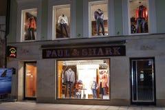 Paul & Shark store in Karlovy Vary at night royalty free stock photos