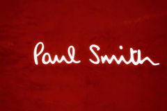 Paul Smith inscription. HONG KONG - OCTOBER 25, 2015: Paul Smith inscription. Sir Paul Smith, is a British designer, whose business and reputation is founded Royalty Free Stock Photo