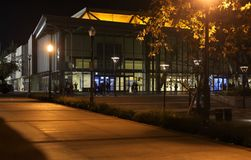 Edwin W. Pauley Pavilion at night on University of California Los Angeles UCLA campus. The Pauley Pavilion an indoor arena on the campus of UCLA in the Westwood Stock Image