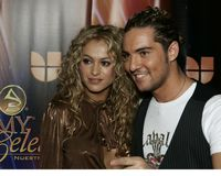 Latin Grammy Celebra Nuestra Musica. Paulina Rubio and David Bisbal arrive on the red carpet for the Latin Grammy Celebra Nuestra Musica show at the Univision royalty free stock images