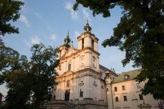 Pauline Church on the Rock in Krakow Stock Photos